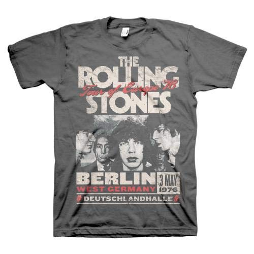 Rolling Stones Berlin Tour of Europe '76 Adult T-Shirt XL Black