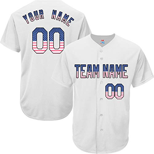 (American Flag Custom Baseball Jersey for Women Button Down Embroidered Your Name & Numbers,White Size M)
