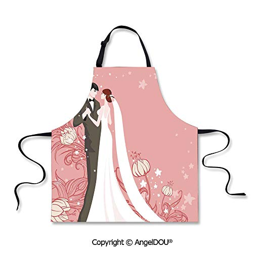 SCOXIXI Waterproof Kitchen Aprons Woman Adult Bride and Groom Getting Married Dancing on Pink Floral Background Home Cooking BBQ Apron Cleaning Accessory.
