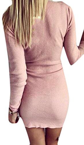 Cruiize Femmes Manches Longues Couleur Unie Zip Extensible Robe Moulante Crayon Rose