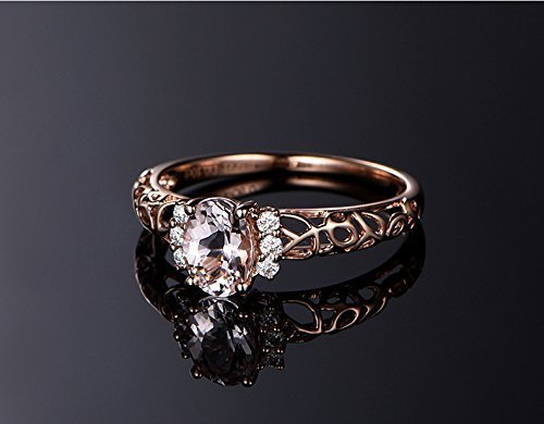 Solid 18k rose gold promise ring,0.1ct SI-H Diamond engagement ring,0.91ct Oval Natural VS pink Morganite,prong (0.1 Ct Wedding Band)
