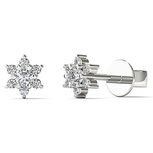 (JewelAngel Women's 10K White Gold 1/5ct TDW Diamond Flower Stud Earrings (H-I, I1-I2))