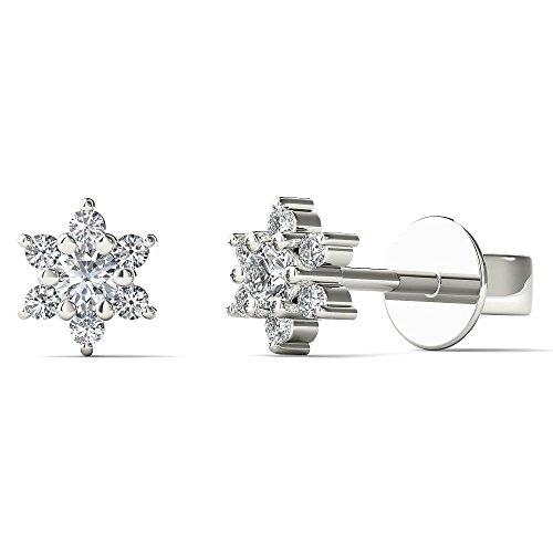 JewelAngel Kids Big Girl's Diamond Accent Cute Flower Stud Earrings (H-I, I1-I2) 10K White Gold by JewelAngel Kids