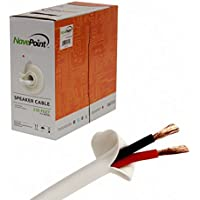 NavePoint 250ft In Wall Audio Speaker Cable Wire CL2 16/2 AWG Gauge 2 Conductor Bulk White