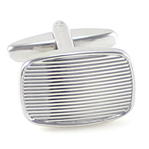 MENDEPOT Classic Rhodium Plated Rectangle Groove Lines Cufflinks With Box - Rhodium Plated Classic Line