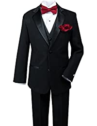 Little Boys' Tuxedo Set With Bow Tie and Handkerchief