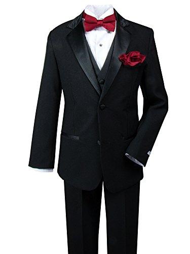[Spring Notion Big Boys' Tuxedo Set with Bow Tie and Handkerchief 16 Black-Red] (16 Tuxedo)