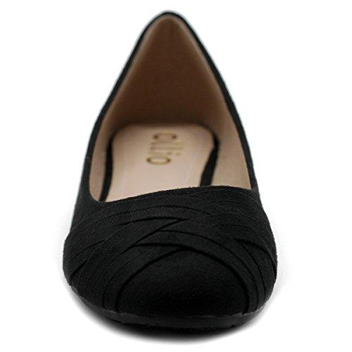 Ollio Damen Ballettschuh Cute Casual Comfort Flat Schwarz