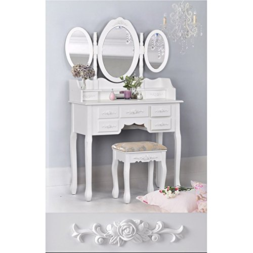 White 3-Piece Wood Make-Up 3 Mirror Vanity Dresser Table and Stool Set with 7 Drawers