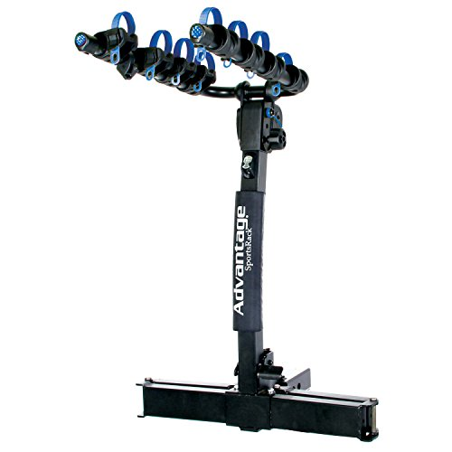 Heininger 2256 Black Advantage SportsRack Glide Away Elite Four Bike Rack with Bonus HitchMate QuickCinch Straps, Cable Hitch Lock ()