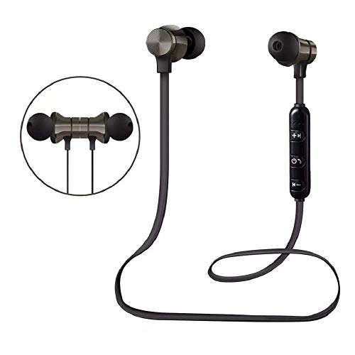 Bluetooth Headphones, Wireless Sports Earbuds with Magnetic Attraction HiFi Stereo Sound Sweatproof Earphones Built-in Mic Headset for iPhone iPad and Android Phones