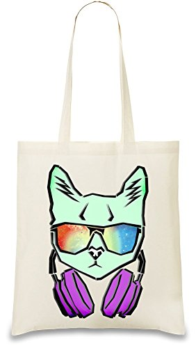 Cat With Galaxy Sunglasses Custom Printed Tote Bag| 100% Soft Cotton| Natural Color & Eco-Friendly| Unique, Re-Usable & Stylish Handbag For Every Day Use| Custom Shoulder Bags By Bang - Printed Sunglasses Custom