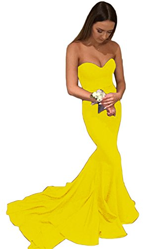 Mathena Women's Strapless Sweetheart Lace-up Mermaid Evening Gown Prom Dress US 8 Yellow