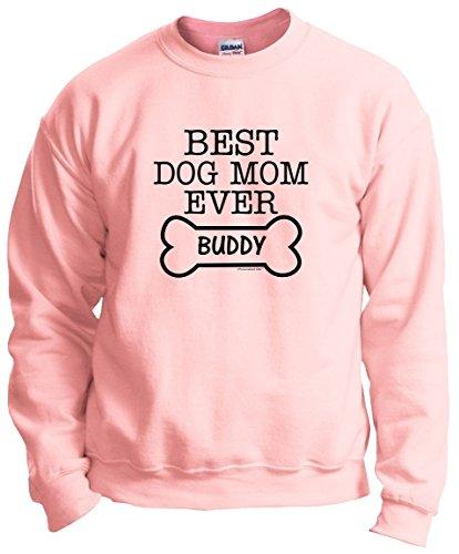 Personalized Dog T-Shirt Personalized Dog Gift Best Dog Mom Ever Custom Name Crewneck Sweatshirt Medium LtPnk (T-shirts Dog Personalized)