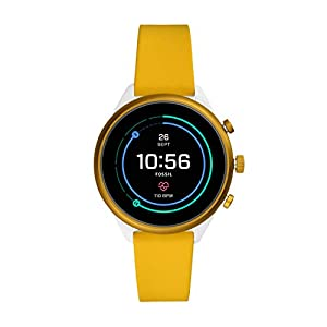 Fossil Women's Sport Heart Rate Metal and Silicone Touchscreen Smartwatch, Color: White, Yellow (Model: FTW6053)