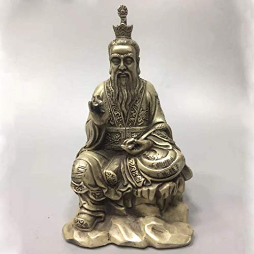 Deeing House Sto China Tibet Silver Ancient Taoist Master Statue Lord Laozi Metal Crafts Home Decoration (Silver Metal Tone Tibet)
