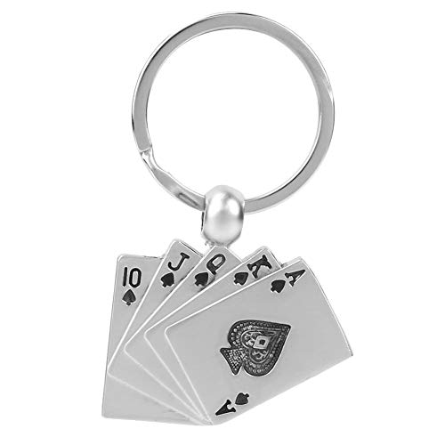(Personality Keychain Royal Flush Poker Playing Card Lucky Key Ring Charm Gift Open Ring and Connector Accessories for DIY)