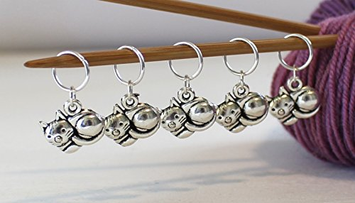 Set of 5 Cat Kitten Stitch Markers for Knitting or Crochet by Walnut Farm Designs