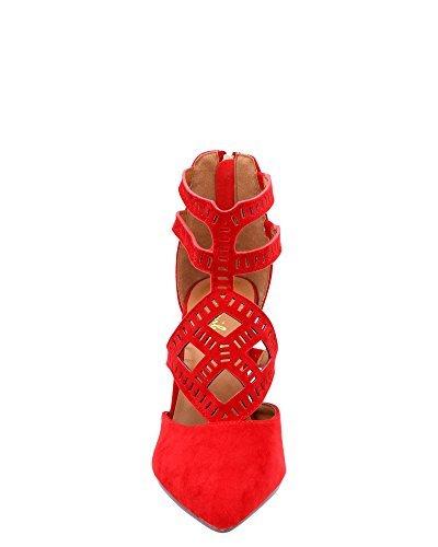 Bonnibel Femme Coupe Laser Talon Habillé Rouge