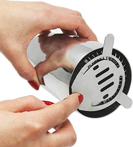 com-four® 3-teiliges Cocktailshaker Set aus rostfreiem Edelstahl - Cocktail Mixer mit Shaker, Messbecher und Cocktailsieb (Cocktailshaker - 03-teilig)