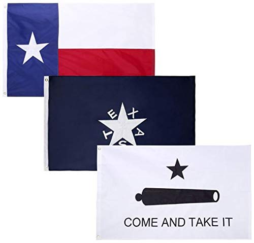 3 Pack - 3x5 Feet Nylon 1836 Lorenzo de Zavala Texas + State of Texas + Come and Take It Flags Combo Pack – Embroidered Oxford 210D Heavy Duty Nylon, Durable and Long Lasting - 4 Stitch Hemming