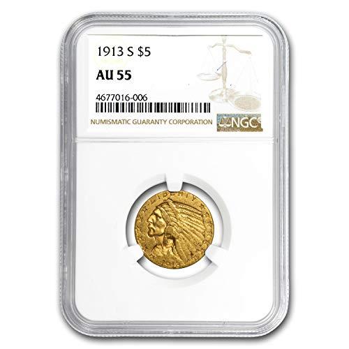 1913 S $5 Indian Gold Half Eagle AU-55 NGC G$5 AU-55 NGC