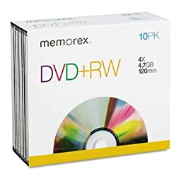 Memorex Dvd+rw Rewritable Disks 120 Min Of Video 4.7 Gb Boxed 10/Pack