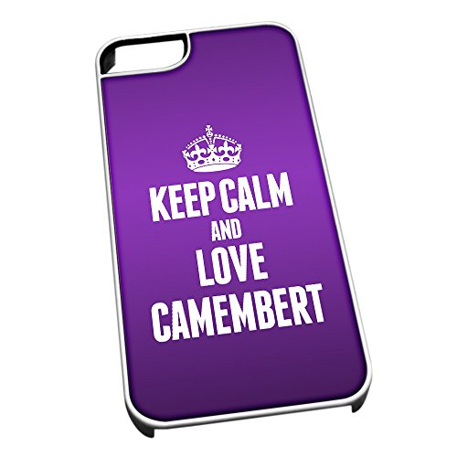 Bianco cover per iPhone 5/5S 0894 viola Keep Calm and Love camembert