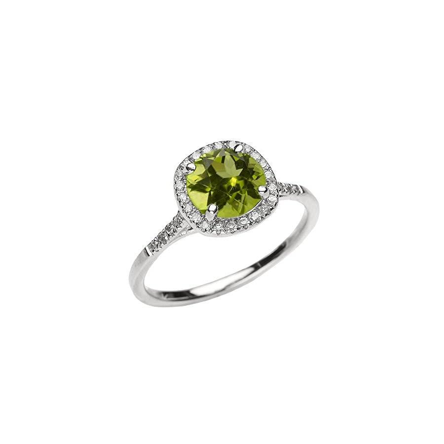 Dainty 10k White Gold Halo Diamond and Peridot Centerstone Engagement Proposal Ring
