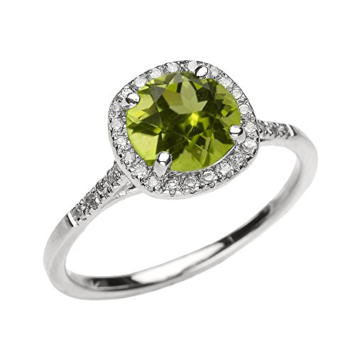 (Dainty 14k White Gold Halo Diamond and Peridot Centerstone Engagement Proposal Ring (Size 9.25))