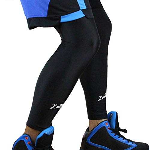 Long Compression Leg Sleeve for Women Men - Luwint Comfortable and Non-Slip UV Protection Leg Knee Brace Support for Sports Basketball Running Cycling, Black, 1 Pair (XL (19.3''~21.2'')) by Luwint (Image #3)