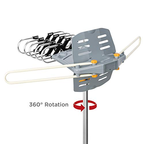 Best Choice Products HDTV 150 Mile Long Range Motorized Rotor Outdoor Amplified Digital HD TV Television Antenna 360° Rotation UHF/VHF/FM w/ Wireless Remote, Dual Output