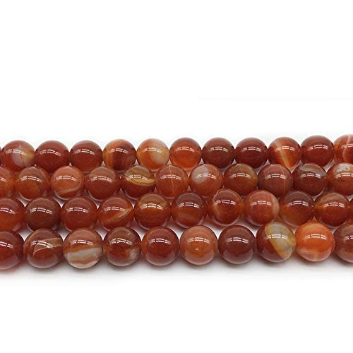 (Pukido 1 Strand Natural Striped Sardonyx Beads 8 Colors Agates Round Beads DIY Jewelry Making 4 6 8 10 12MM Pick Size Charm Accessories - (Color: red, Item Diameter: 8mm 47pcs))