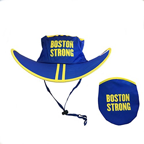 Been There Brand Boston Blue Yellow Foldable Sun Hat and Carry Pouch|Marathon, Travel, Event, Concert & Parade for Men & Women| (Boston Strong, Flat Sun Hat)]()