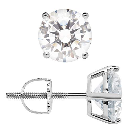 14K Solid White Gold Stud Earrings | Round Cut Cubic Zirconia | Screw Back Posts | 2.56 CTW | With Gift Box