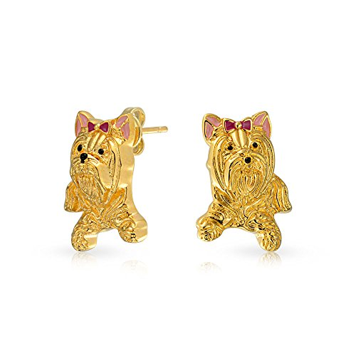[Gold Plated Yorkshire Terrier Dog Stud Earrings Enamel] (Yorkshire Terrier Jewelry)