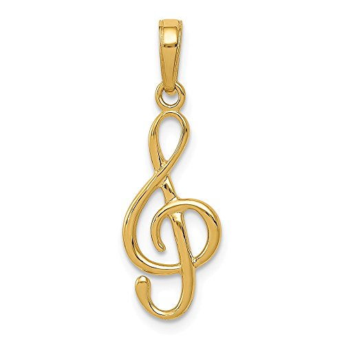 14k Yellow Gold 3 D Clef Note Pendant Charm Necklace Musical Fine Jewelry Gifts For Women For Her ()
