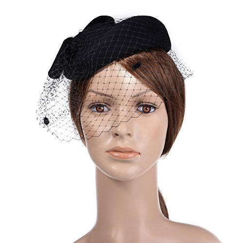VBIGER Women Fascinator Hats Derby Wedding Hats Vintage Hat Pillbox Hat Woollen Felt Hat Bow Veil Party Hat for Women