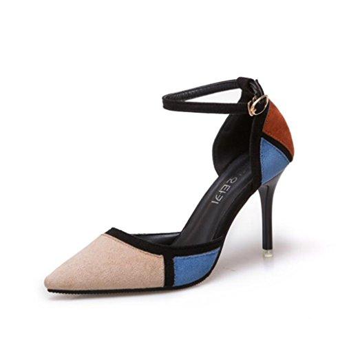 Hollow Beige Stiletto Color Matching Puntiagudas Open Altura Cm Femeninas Toe Sandalias Hebilla 8 Hueco wORIIq