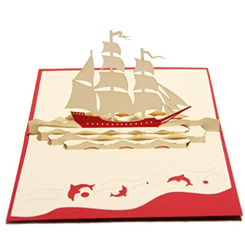 (Modsnde 3D Popup Card Vintage Sail Boat Laser Cut Cards Postcards Handmade Invitations for Birthday Easter Anniversary Thank You Wedding Bussiness)