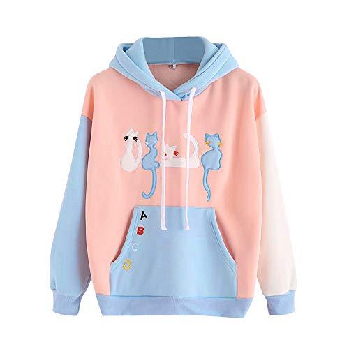 Women's Hoodies, FORUU Sweatshirt Long Sleeve Cat Printed Hooded Pullover Tops -