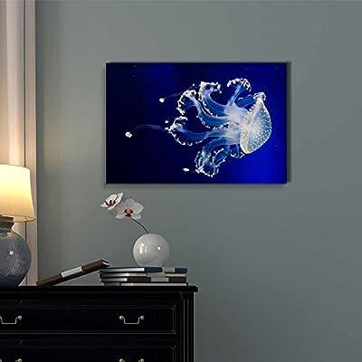 Jellyfish In Deep Blue Water - Canvas Art