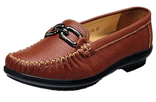 WUXING Christmas Women's Autumn Fashion Slip-On Leather Boat Shoes (5.5 B(M)US, claret)