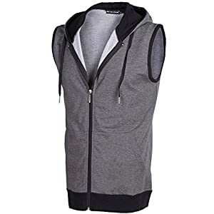 Mooncolour Mens Active Sleeveless Zip Up Color Blocks Hoodies Casual Vest