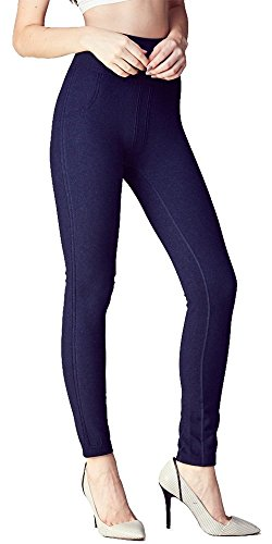 Bonnie de' Connie Germanium Acupuncture Points Massage High-Waist Warm Figure Flattering Legging.(DENIM)