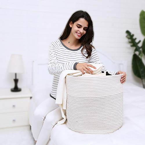 GreenPastures Large Cotton Rope Baskets 18 x 16 inches, Woven Cotton Storage Basket with Handles, Round Decorative Blanket Basket for Baby Toy Towel Book Pillow Clothes in Nursery Room Living Room