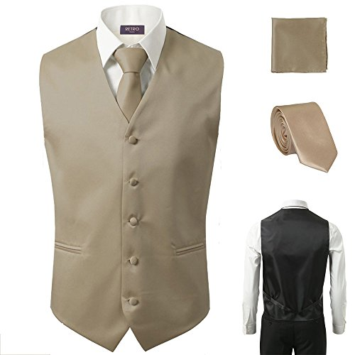 (Sugo 3 Pcs Vest + Tie + Hankie Beige Fashion Men's Formal Dress Suit Slim Tuxedo Waistcoat Coat (X-Large))
