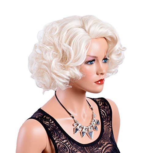 Madonna Halloween Costumes Material Girl (GNIMEGIL Short Big Curly Wavy Layered Wigs for Women Cosplay Party Marilyn Costume Synthetic Fiber Platinum Blond Hair Full)