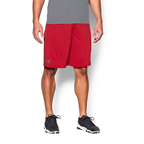 Red Training Shorts (Under Armour Men's Tech Graphic Shorts, Red (600)/Steel, Large)