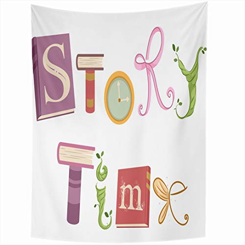 Ahawoso Tapestry 60 x 90 Inches Cutout Time Whimsical Featuring Vines Ribbons Fancy Story Pink Clock Bedtime Book Fairytale Design Wall Hanging Home Decor Tapestries for Living Room Bedroom Dorm